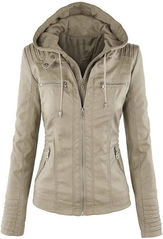 Cyose Fashion Women Hoodies Winter Motorcycle Jacket Black Outerwear Faux Leather PU Jacket Coat