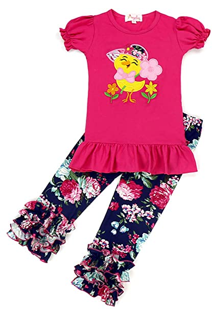 a6f06f7c6381 Angeline Boutique Clothing Girls Easter Eggs Chick Capri Set Pink ...