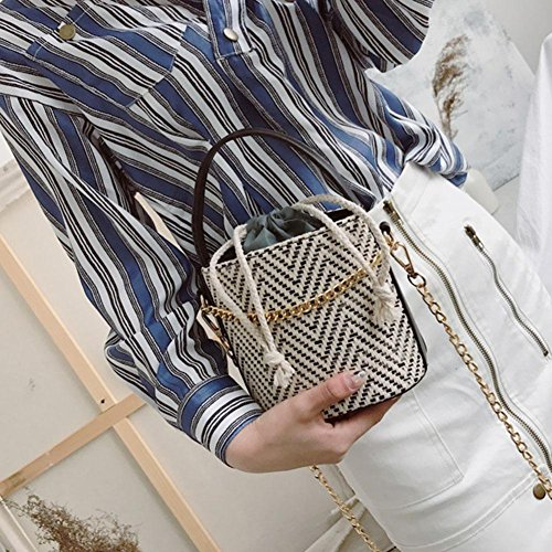 Shoulder Bucket Bags Black Chain Beach Bag Crossbody 2018 NEW Top Drawstring Woven Women Messenger FINIFLY Handle Straw fRHq7nA