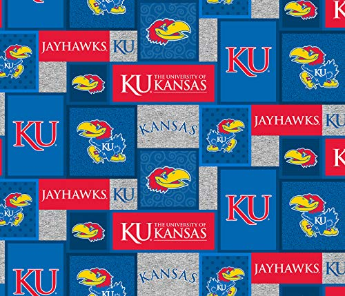 University of Kansas Fleece Blanket Fabric-Kansas Jayhawks Fleece Fabric with New Patch PATTTERN-Sold by The Yard