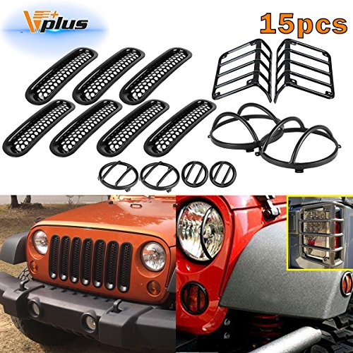 Partsam (15pcs) Black Headlight Guard Covers & Tail Light Mounting Brackets & Side Fender Front Turn Signal Protectors & Front Grille Insert Compatible with Jeep Wrangler JK TJ 2007-2016
