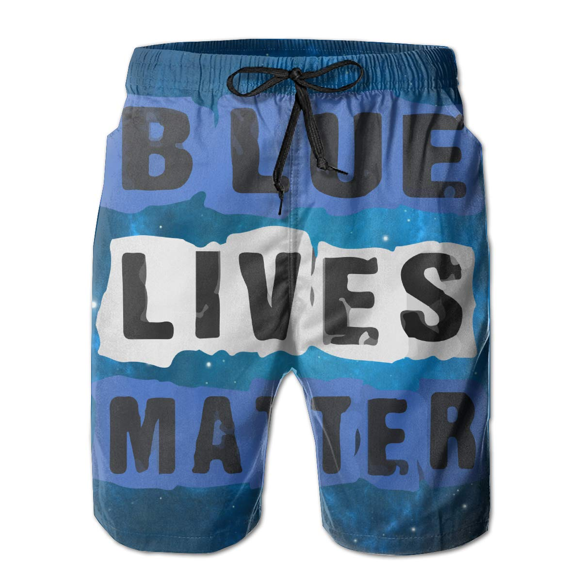 Blue Live Matter Mens Quick Dry Drawstring Waist Swim Trunks Board Shorts with Mesh Lining