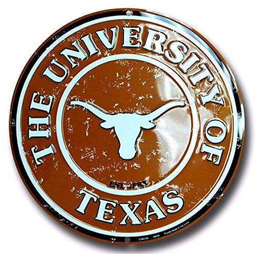Cheeper Eletina Ds ut Decor Texas Longhorns 12 Inch Embossed Metal Nostalgia Circular Sign ut Decorations