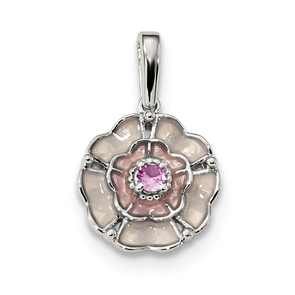 13.5mm x 23mm Solid 925 Sterling Silver Simulated Pink Simulated Sapphire and Enamel Pendant