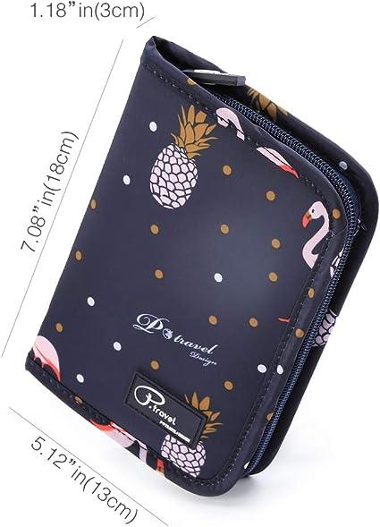 Cartera de Viaje para Documentos Porta de Pasaporte Tuscall Portadocumentos de Viaje Unisex con Bolsillos de Cremallera para Tarjetas de Cr/édito Identificaciones Monedas Billetes de Viaje Flamingo