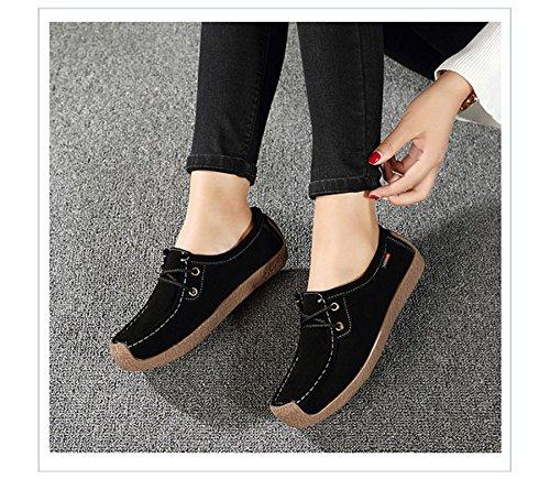 Cheville Enfiler Mode Bateau à de en Chaussure Suède Noir Tête Loisir Loafers Chaussure Carrée Femme Confortable Automne JRenok g4SB01