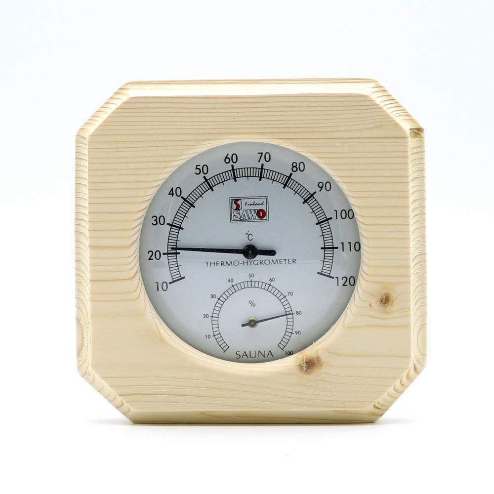 Single Sauna Wooden Hygrothermograph Thermometer Hygrometer Sauna Room Accessory BEESS