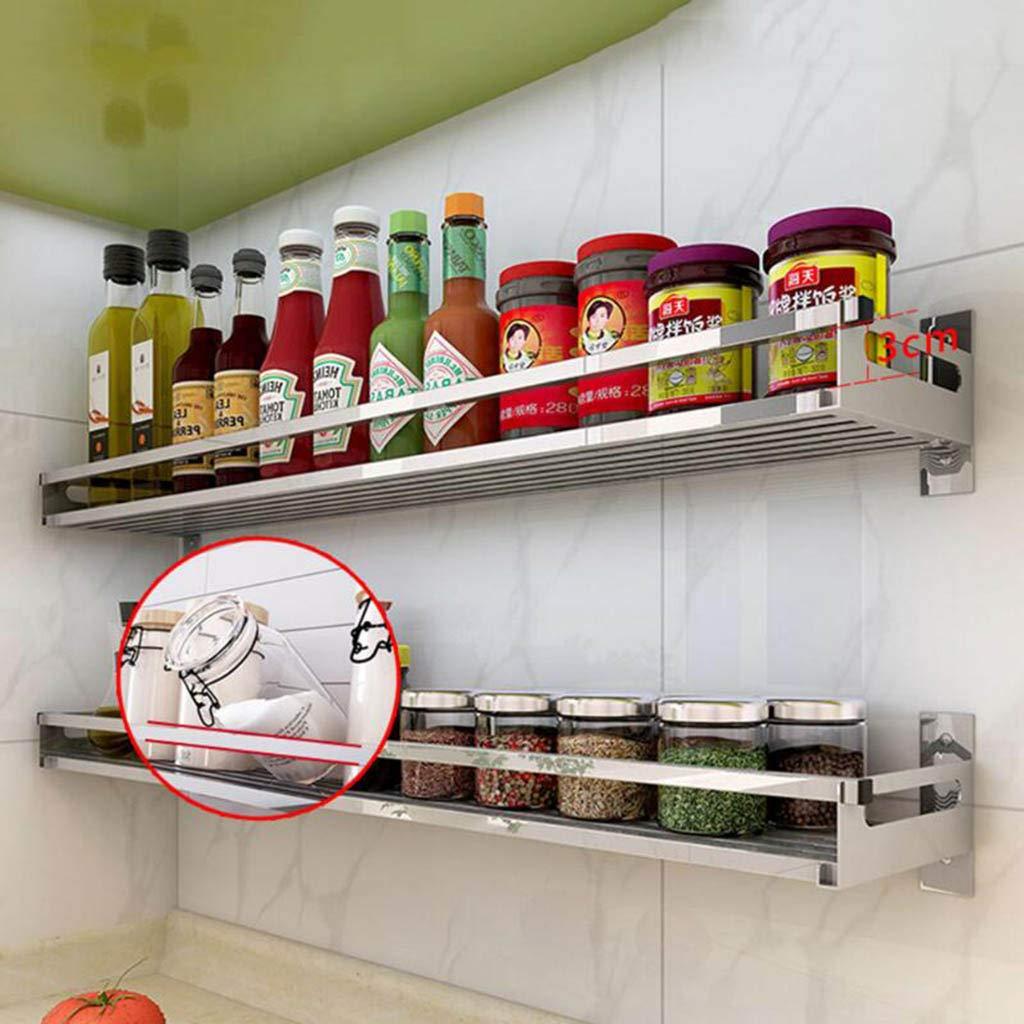 Bagno e Toilette 3 Ganci gratuiti Scaffale per spezie Scaffale in Acciaio Inossidabile 304 Scaffale a Parete per Cucina
