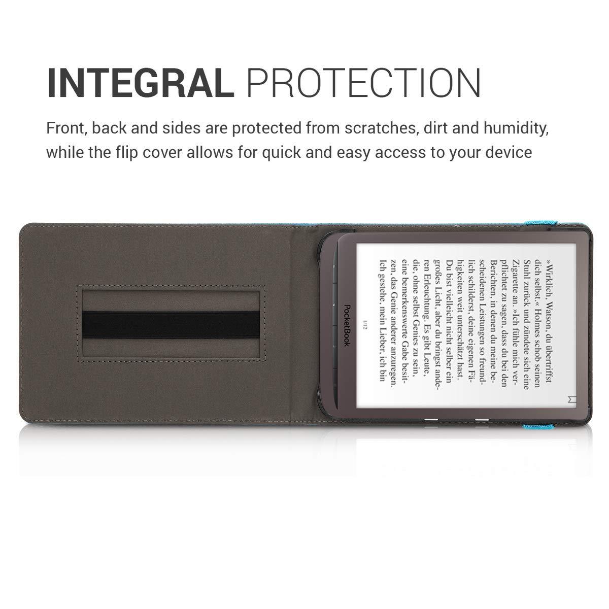 /Étui de Protection Gris fonc/é Coque Rabat liseuse en Simili Cuir kwmobile Coque pour liseuse /électronique Pocketbook InkPad 3