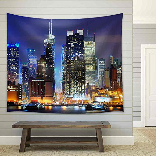 Lower Manhattan from Across the Hudson River in New York City Fabric Wall Tapestry