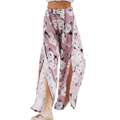 20d08bb452 Women Wide Leg Chiffon Pants High Waist Floral Print Split Beach Palazzo Pants  Loose Casual Boho Trousers: Amazon.co.uk: Clothing