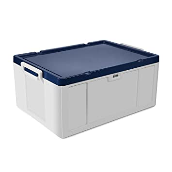 Lockable Storage Container, EVERTOP 55 Quart / 52 Liter Stackable Under Bed  Plastic Storage