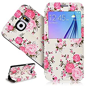 LiaoCity @ Ultra Thin Windows View Protection Shell for Samsung Galaxy S6 Silk Case Flip Cover Flower PU Leather Case with Stand Function Case - Pink Flowers
