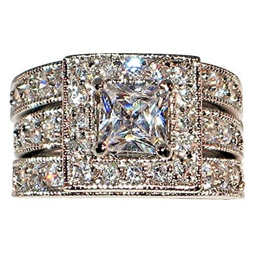 Vintage-style Princess-shape Milgrain 2.58 Ct Cubic Zirconia Cz Bridal Engagement Wedding Ring Set (Center Stone Is 1.25 Cts) (7) ()