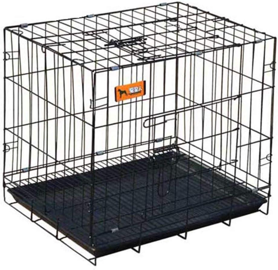 YXZQ Jaula para Perros XL con Divisor, corralito portátil Plegable Negro para Gatos domésticos con Bandeja, Perrera Interior al Aire Libre (tamaño: XL 100 * 60 * 70 cm)