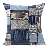 Eyes of India - 16'' Indigo Blue Grey Couch Pillow Cover Cushion Throw Sofa Indian Bohemian Boho Colorful PatchworkCover Only