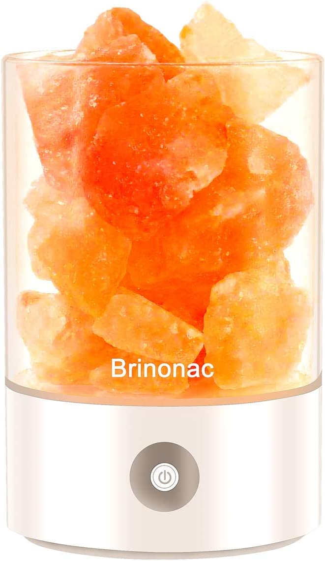Himalayan Salt lamp,Brinonac Pink Crystal Rock lamp,Sea Salt Rock Lamps,Night Light, Effective Air Purifier with Dimmable Touch Switch for Home and Office or as Holiday Gift