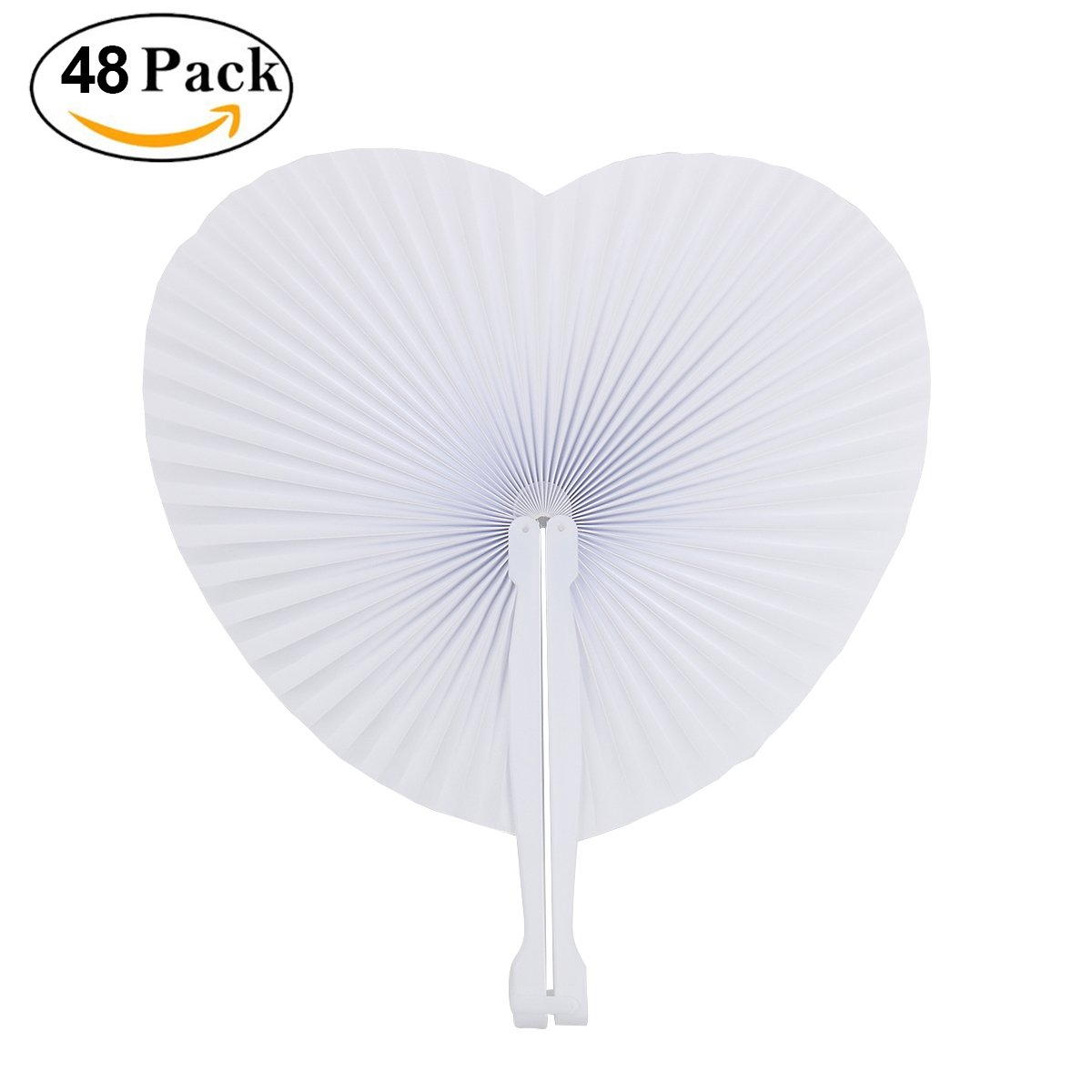 Amazon.com: Cusfull 48 Pack White Folding Paper Fans Handheld Paper ...