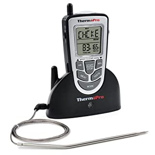 ThermoPro TP09 - Digital Smoker BBQ Oven Grill Food Wireless Cooking Thermometer with Long Range, Instant Read Meat Thermometer, Perfect for Grilling or...