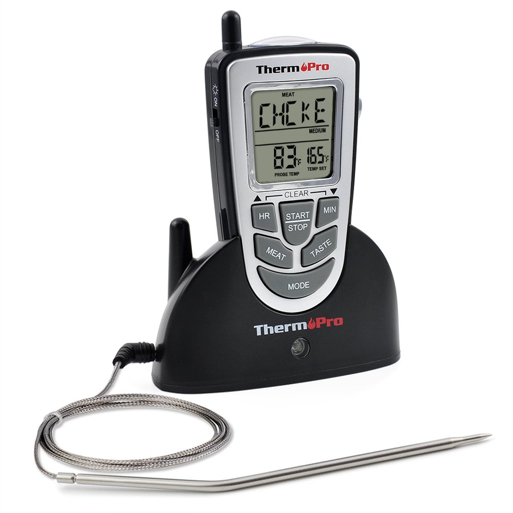 ThermoPro TP09 - Digital Smoker BBQ Oven Grill Food Wireless Cooking Thermometer with Long Range, Instant Read Meat Thermometer, Perfect for Grilling or Kitchen Use, Battery Included