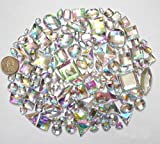 LOVEKITTY 100 pcs lot - Sew-On Gems - AB Clear Mixed Shapes Flat Back Gems (Mixed Sizes has thread holes)