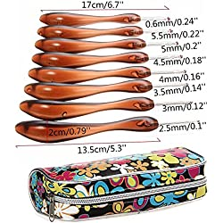 Ergonomic Grip Handle Aluminum Crochet Hooks Set Needles - CURVED HANDLE - Extremely Comfortable!