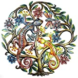 Global Crafts 24' Recycled Hand-Painted Haitian Metal Wall Art Gecko, Painted Gecko in Tree of Life