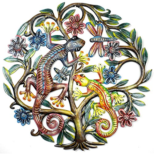 24-Inch Painted Tree of Life with Geckos Metal Wall Art