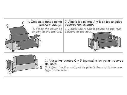 Lanovenanube Belmarti - Funda sofá Acolchado - Práctica - 2 plazas - Color Azul C04