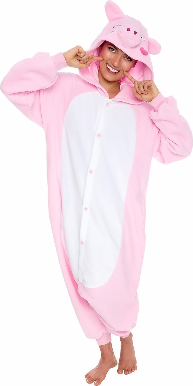 Silver Lilly Unisex Adult Pajamas - Plush One Piece Cosplay Pig Animal Costume