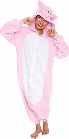 e067f394fc Amazon.com  Silver Lilly Unisex Adult Pajamas - Plush One Piece Cosplay Pig Animal  Costume  Clothing