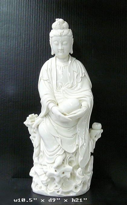 Etonnant Fine White Porcelain Sitting Kwan Yin Statue Ass982