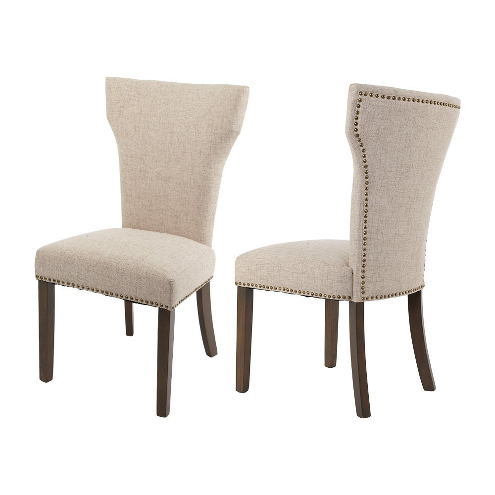 Merax Luxurious Fabric Dining Chairs with Nailhead Detail and Solid Wood Legs Set of 2