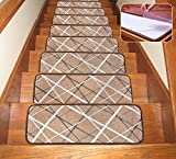 Soloom Washable Non-Slip Stair Treads Carpet with Skid Resistant Rubber Backing Specialized for Indoor Wooden Steps (25.5×9.5 inch, 7piece, Brown)