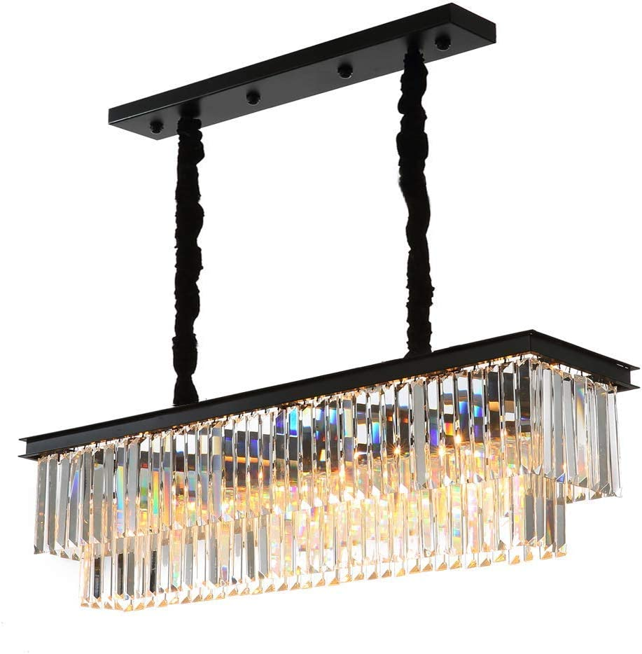 """Yue Jia Luxury Contemporary Rectangular Island Crystal Chandelier Lighting Fixture for Dining Room L39"""" x W10"""" x H10"""""""