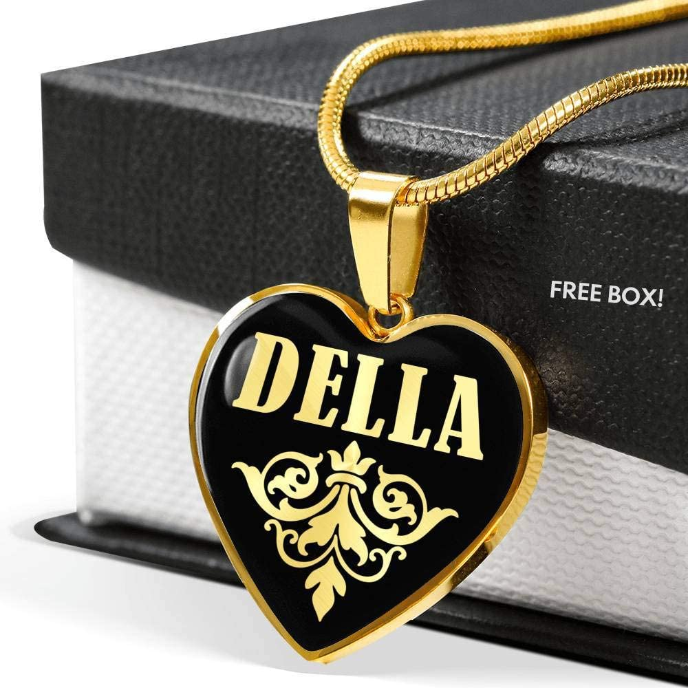 Della v02-18k Gold Finished Heart Pendant Luxury Necklace Personalized Name Gifts