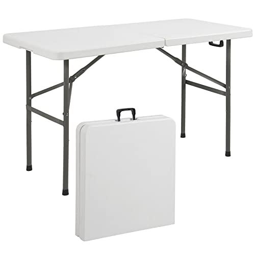 4ft Indoor Outdoor Folding Portable Plastic Picnic Dining Table w Handle-White