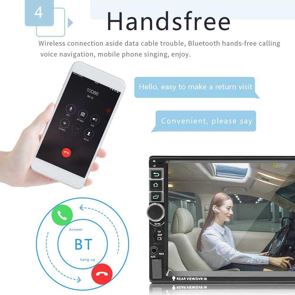 2 DIN 7 Pulgadas HD 1080P Pantalla t/áctil Est/éreo para autom/óvil FM GPS Navigator Bluetooth Quad-Core 16G Memoria Radio de Coche est/éreo MP5 Player con Soporte de Control Remoto Control del Volante