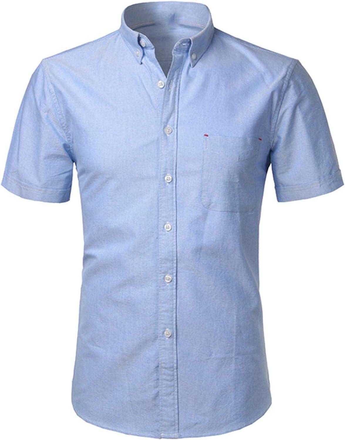 Mens Summer Short Sleeve Shirt Slim Casual Business Social Office Tops,Blue,5XL,United States