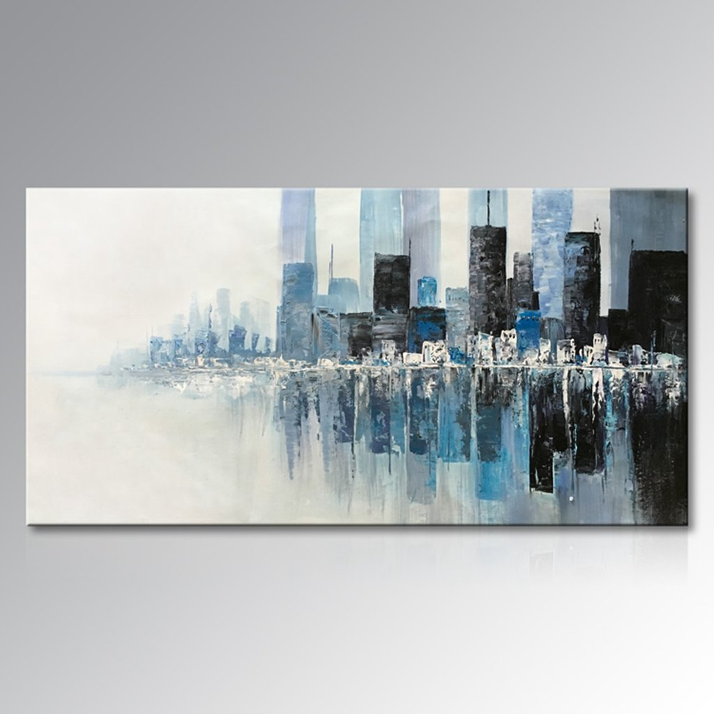 Everfun Art Hand Painted Abstract Wall Art Seaside Cityscape Modern Oil Painting on Canvas Home Decoration for Living Room Bedroom Dining Room Stretched and Framed Ready to Hang (64''W x 32''H)