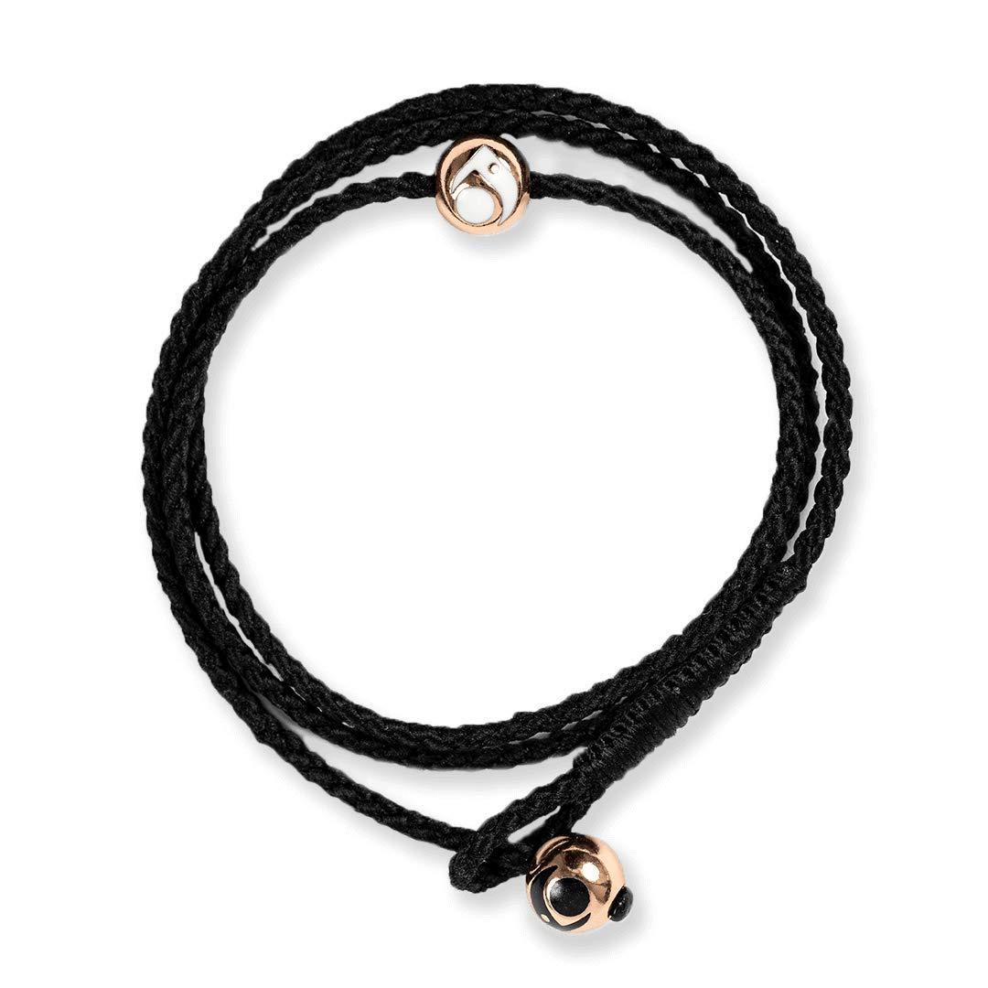 Lokai Metals Collection Triple Wrap Bracelet, Black/Rose Gold, 7'' - Large by Lokai
