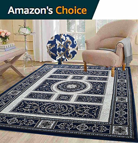 Dark Blue Persian Floral Oriental Formal Traditional Area Rug 5×7 Easy to Clean Stain Fade Resistant Shed-Free Living Dining Room Rug Tabriz 413 Blue For Sale