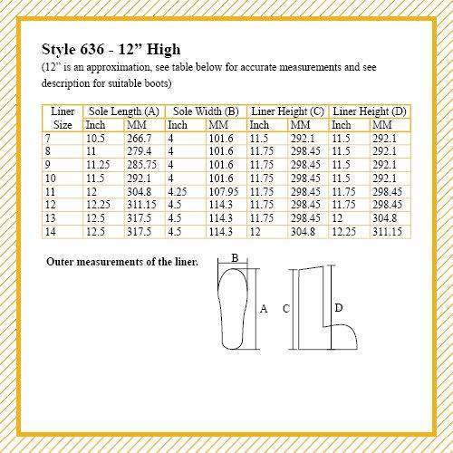 Bota Liners 636 Con 80% Lana, Thinsulate (tm) Y Cambrelle (tm), 12 Altura
