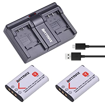 Amazon.com: Batmax - 2 baterías NP-BY1 de 1200 mAh + ...