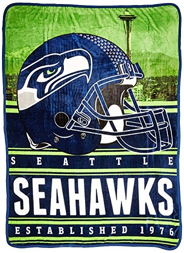 (Officially Licensed NFL Seattle Seahawks Stacked Silk Touch Throw Blanket, 60