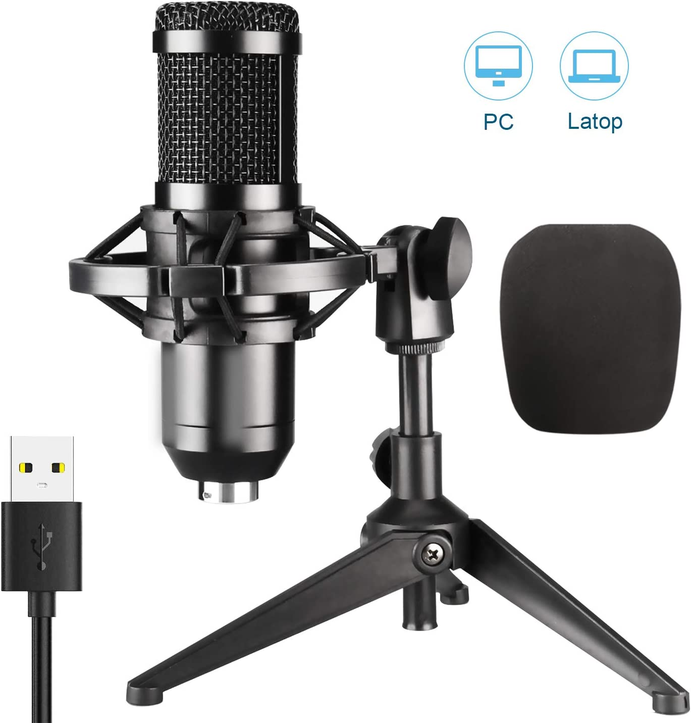 USB Microphone,Condenser Recording Microphone for PC Computer Desktop Laptop MAC or Windows Recording, Voice Overs,Streaming Broadcast,YouTube Game (01)