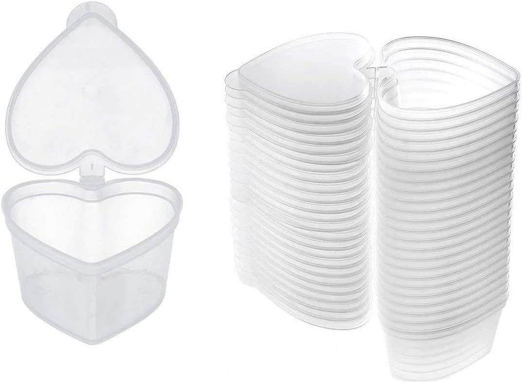 Fyess 50PCS 1.5oz Heart Shaped Slime Storage Containers, Slime Containers Transparent Plastic Boxes Heart Shaped Leak Proof Containers with Lids for Slime, Liquid, Foam Ball, DIY Slime, Soft Clay