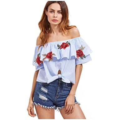 0bc6e2baa5e41 SODIAL(R) New Women Sexy Off Shoulder Blouses Summer Slash Neck Shirts Short  Sleeve Rose Floral EmbroideRed Tops Ladies Striped Shirt(Blue
