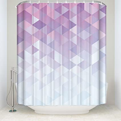 Extra Long Shower Curtain Mosaic Polyester Waterproof Fabric Bathroom Accessory