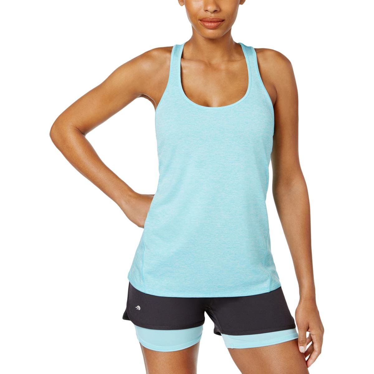 Ideology Womens Yoga Fitnesss Tank Top Blue M